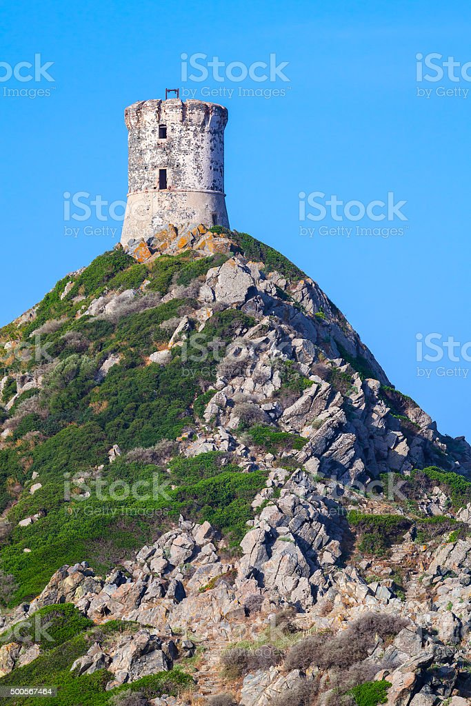 Tour Parata. Ancient Genoese tower on rock stock photo