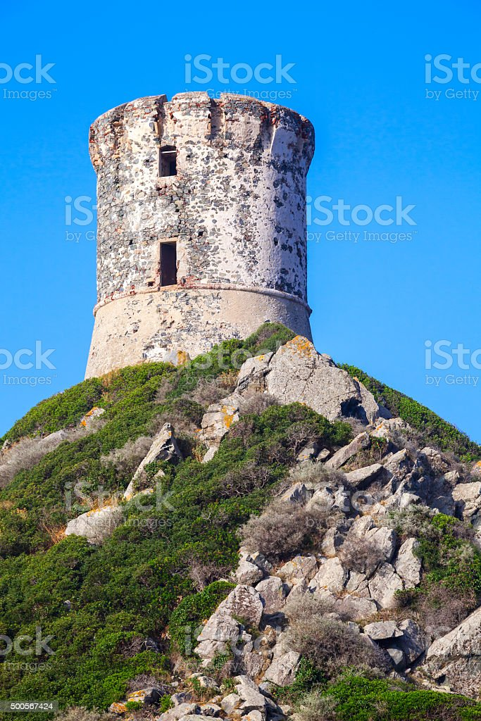 Tour Parata. Ancient Genoese tower on the rock stock photo