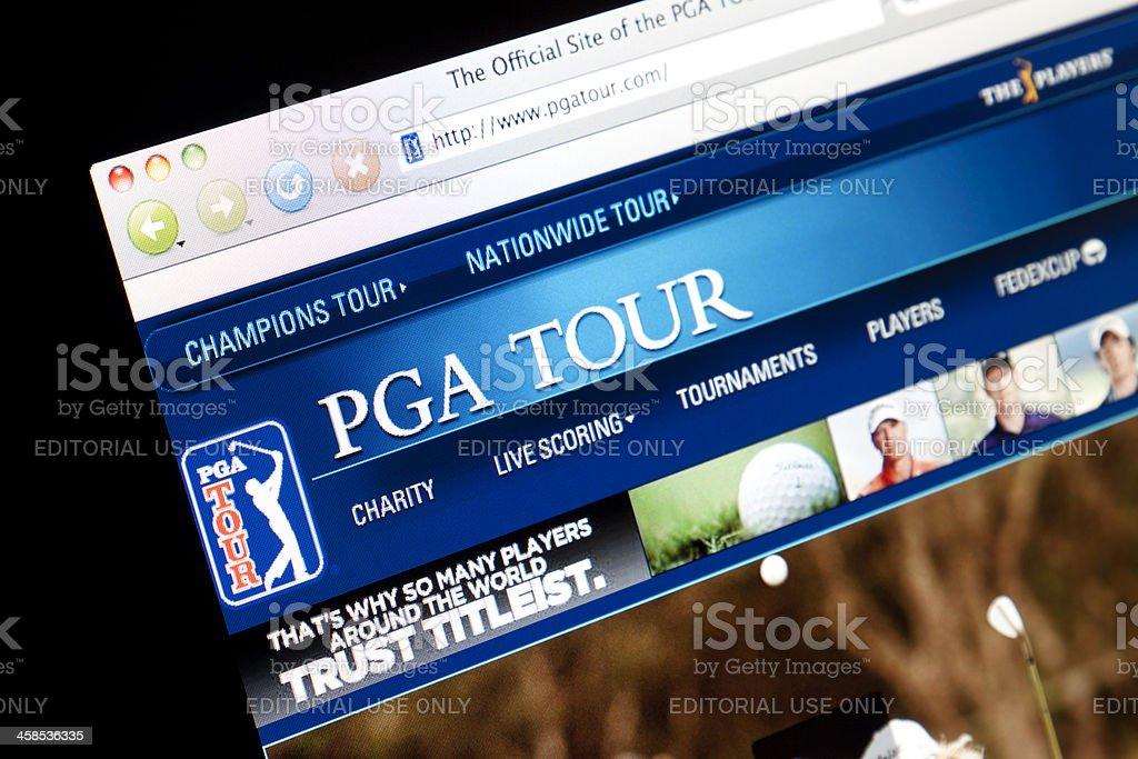 PGA Tour Website. stock photo
