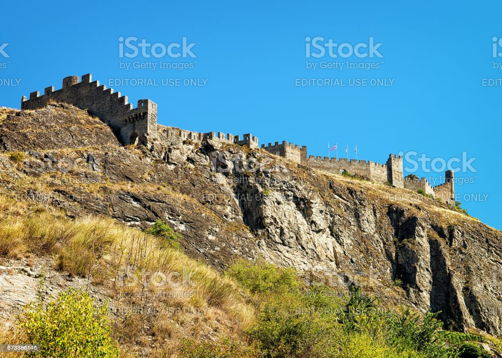 Tourbillon castle and landscape at Sion capital Valais Switzerland stock photo