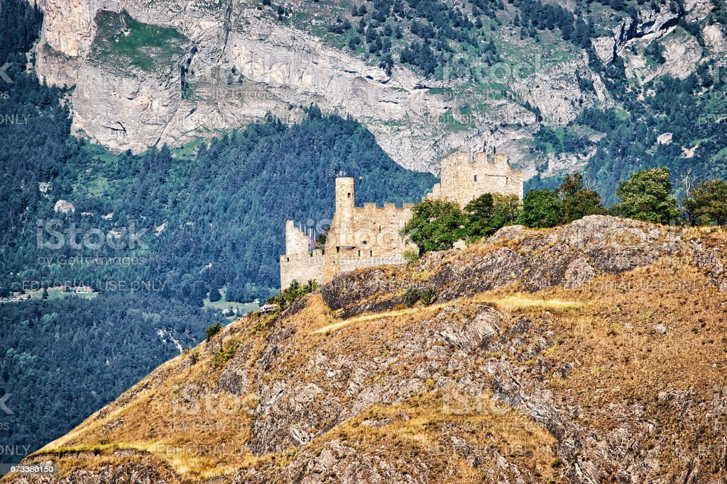 Tourbillon castle and landscape in Sion capital Valais Switzerland stock photo