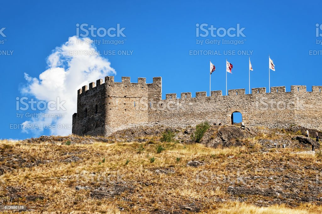 Tourbillon castle at hill of Sion capital Valais Switzerland stock photo