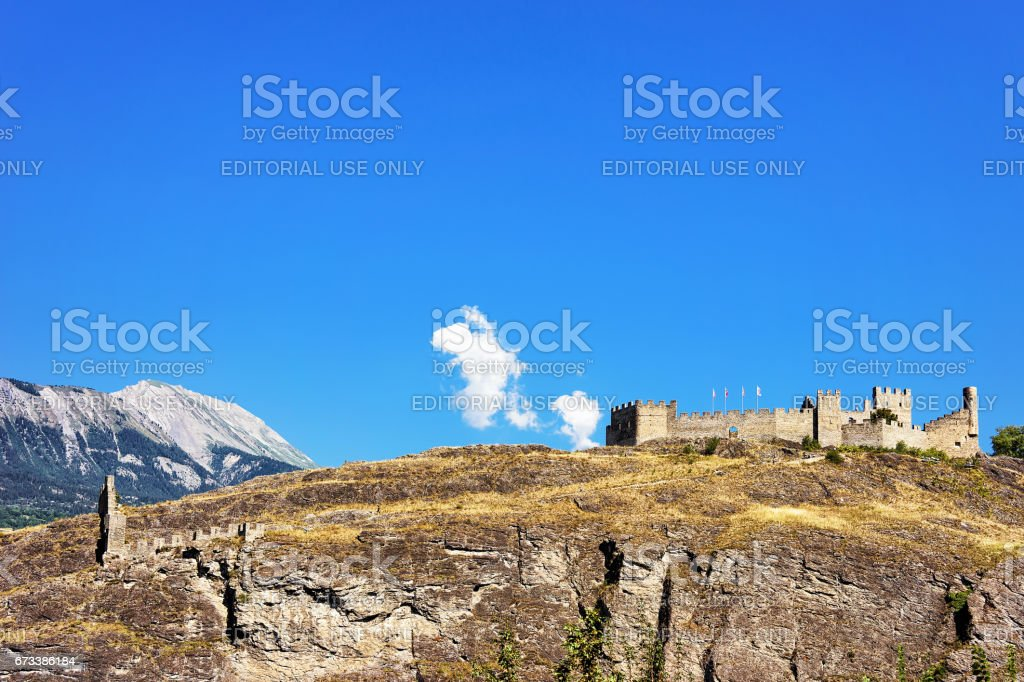 Tourbillon castle with landscape at Sion capital Valais Switzerland stock photo