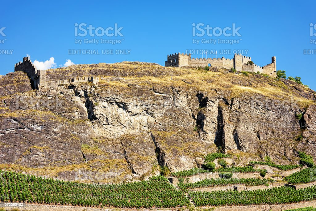 Tourbillon castle with landscape in Sion capital Valais Switzerland stock photo