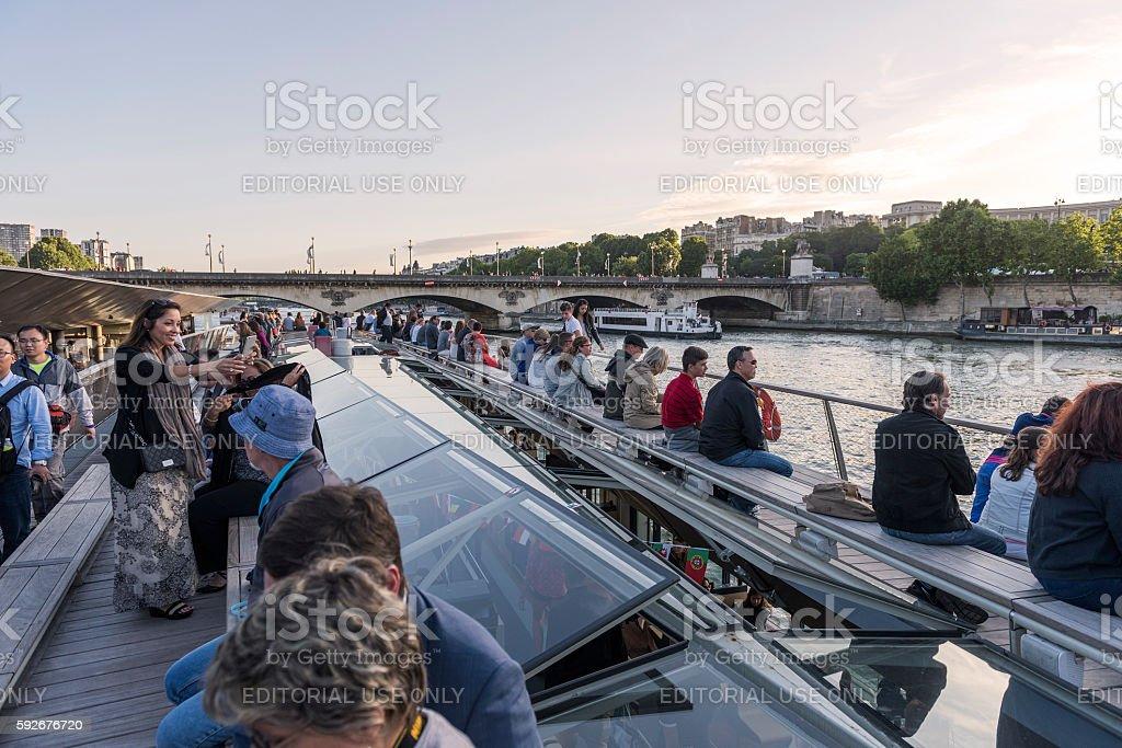 Tourboat in Paris stock photo