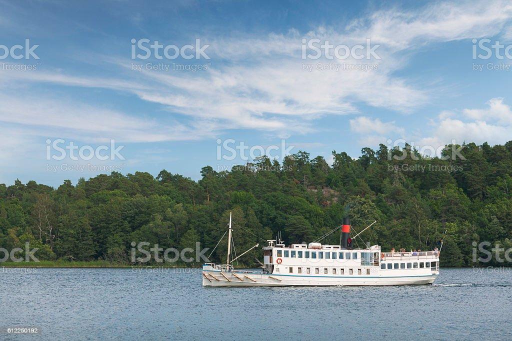 Tourboat in Stockholm stock photo