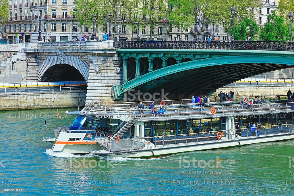 Tourboat on Seine River stock photo