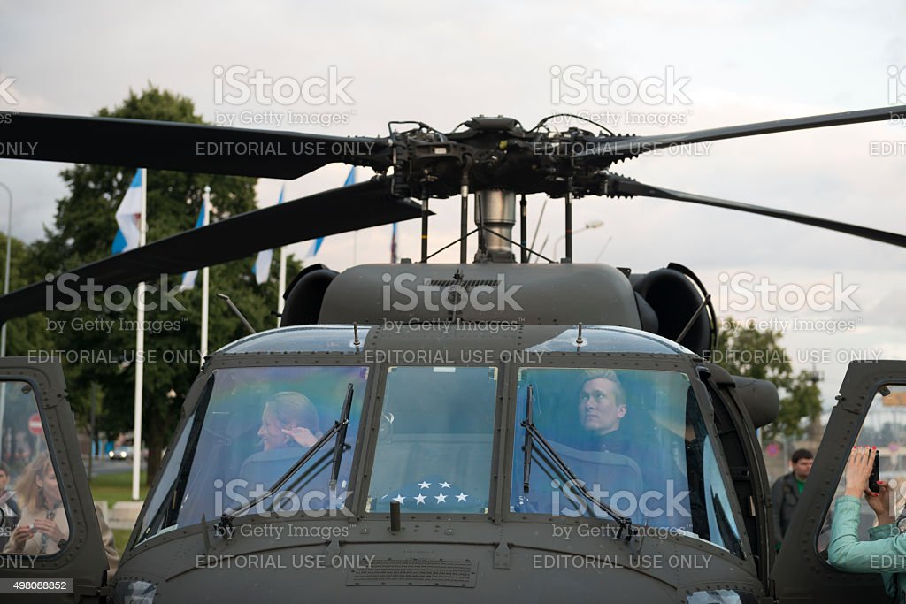 Touring an army Blackhawk helicopter stock photo