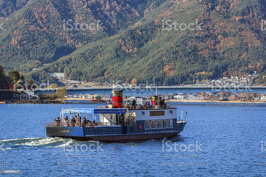 Touring boat at Lake Kawaguchiko stock photo