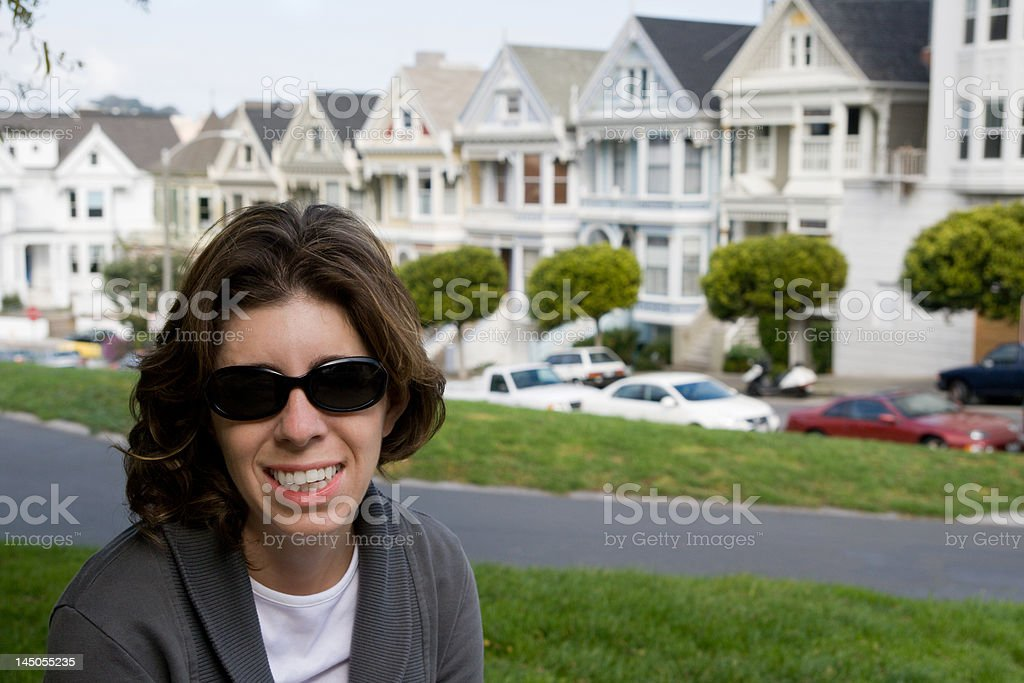 Touring San Francisco's Painted Ladies royalty-free stock photo