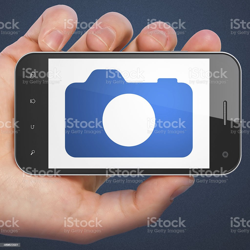 Tourism concept: Photo Camera on smartphone stock photo