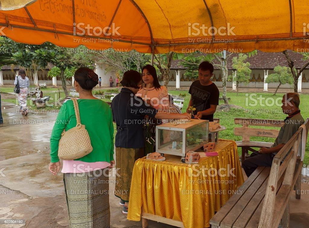 Tourism donate money to charity stock photo