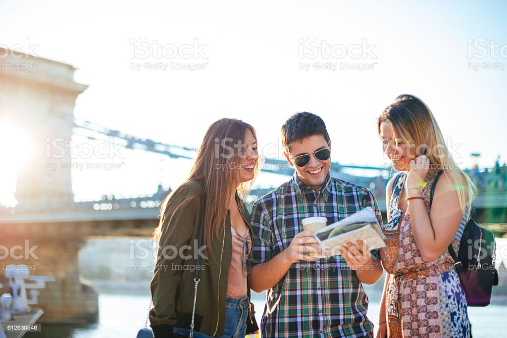 Tourism in Budapest, Hungary, tourists near Chain bridge stock photo