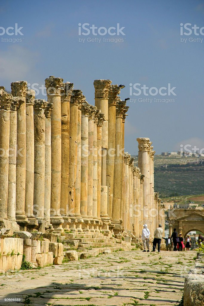 Tourism in Jerash royalty-free stock photo