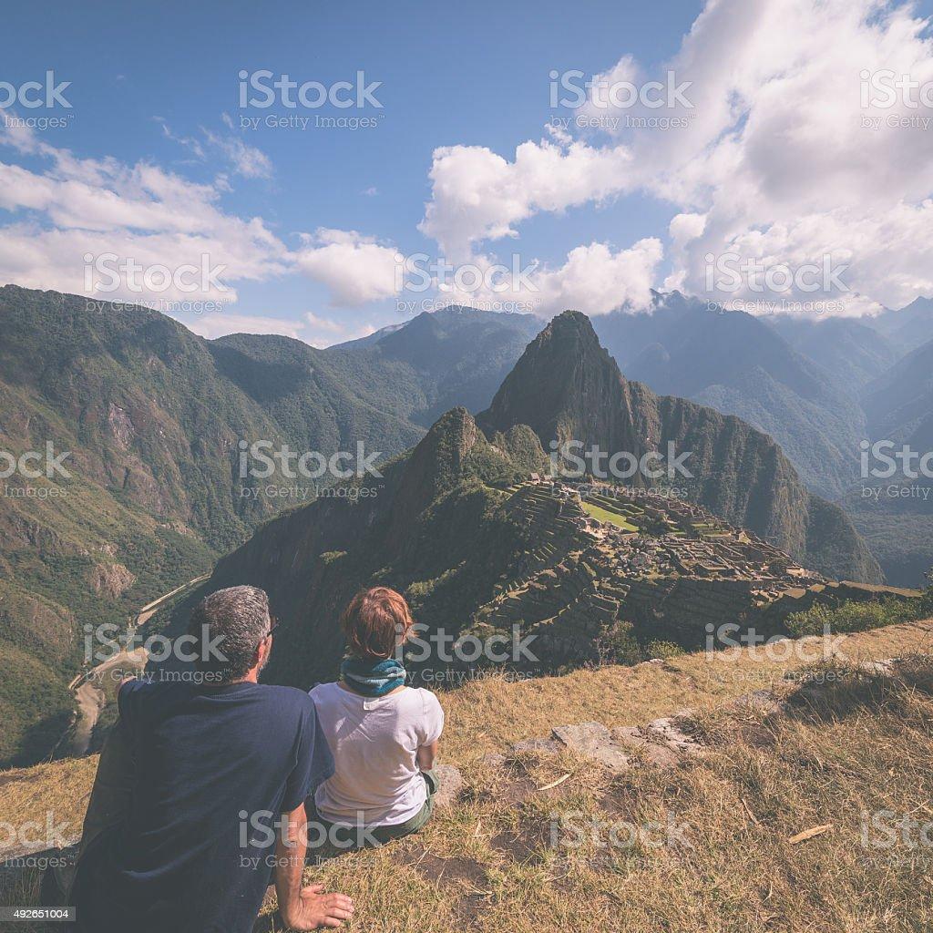 Tourism in Machu Picchu, Peru, toned image stock photo