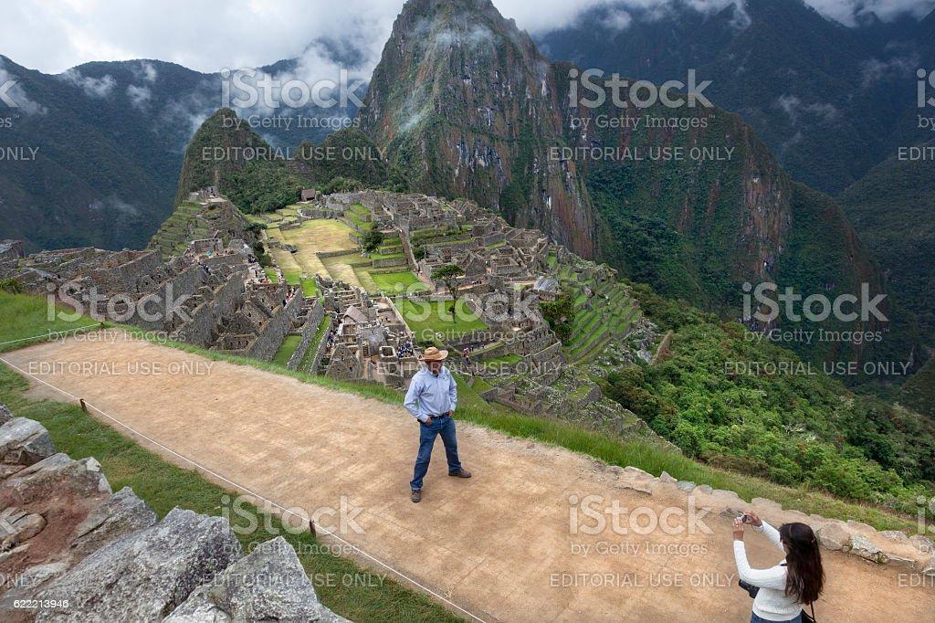 Tourism in Marchu Picchu stock photo