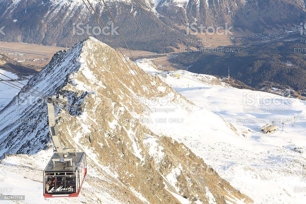 Tourism in Saint Moritz Corviglia Furnicular stock photo