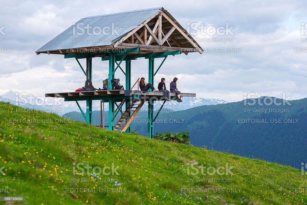 Tourism in Svaneti, Georgia stock photo