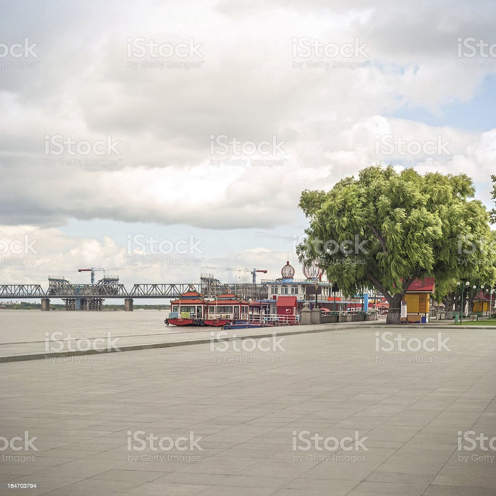 Tourism wharf by the Songhua River stock photo