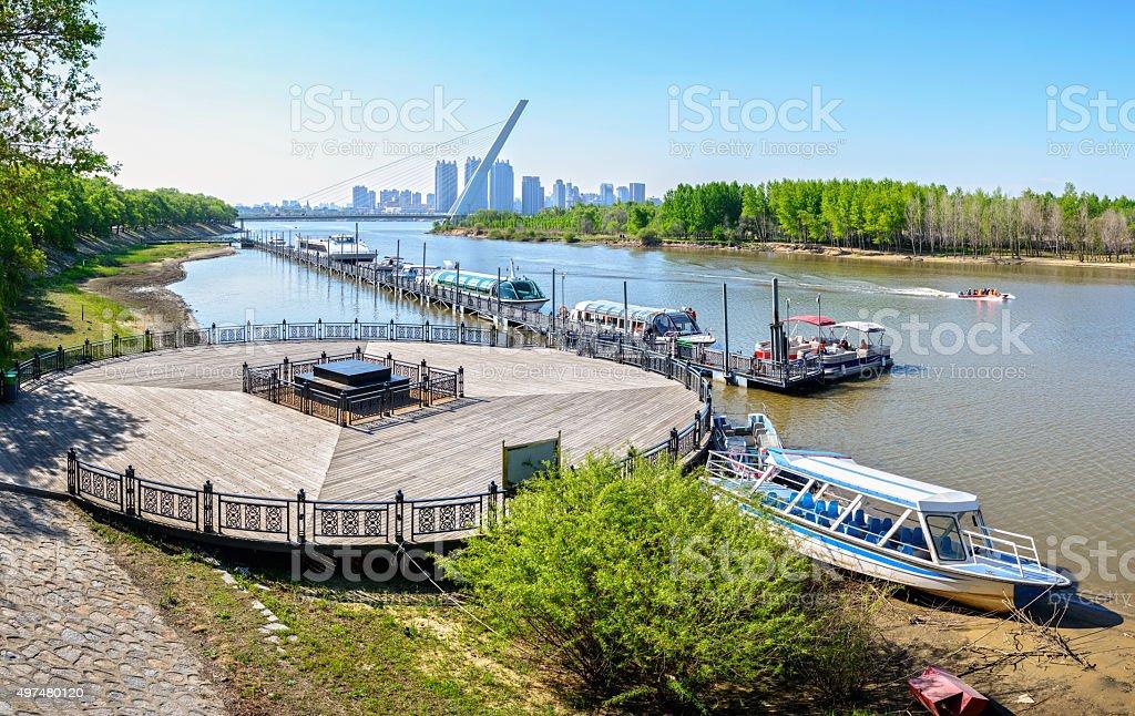 Tourism wharf of Songhua River stock photo