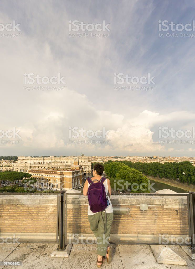 Tourist Admires View of Rome stock photo