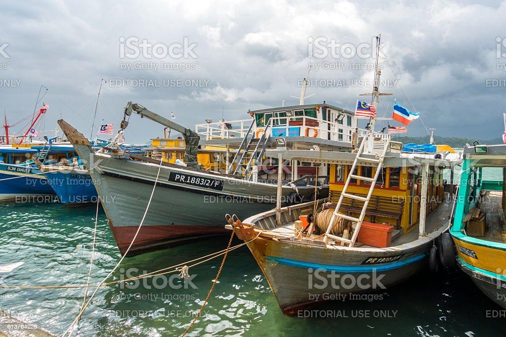 Tourist and fishing boats Kota Kinabalu, Malaysia stock photo