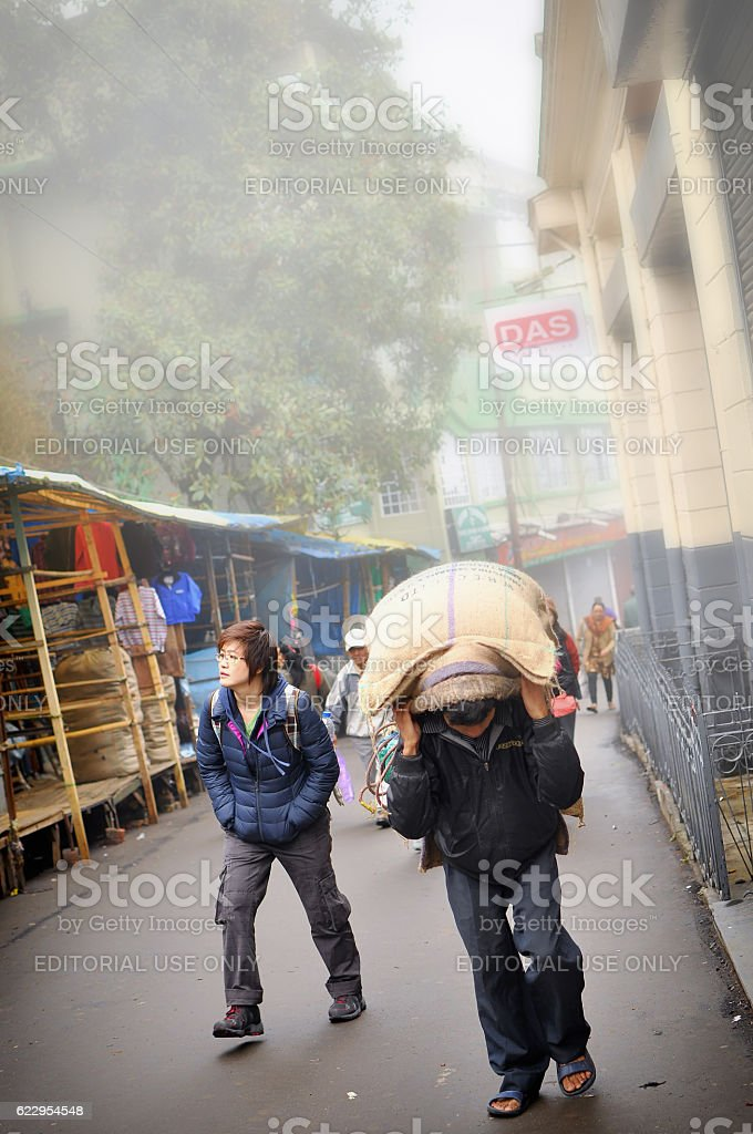 Tourist and worker lifestyle at Darjeeling town stock photo