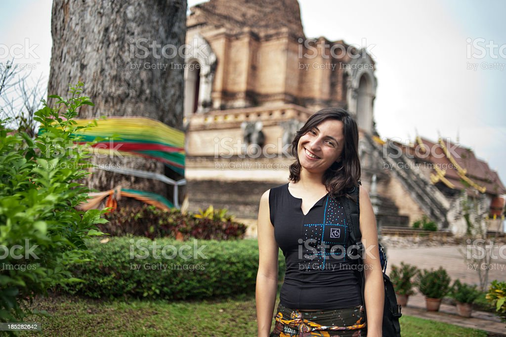 Tourist at a Buddhist Temple stock photo