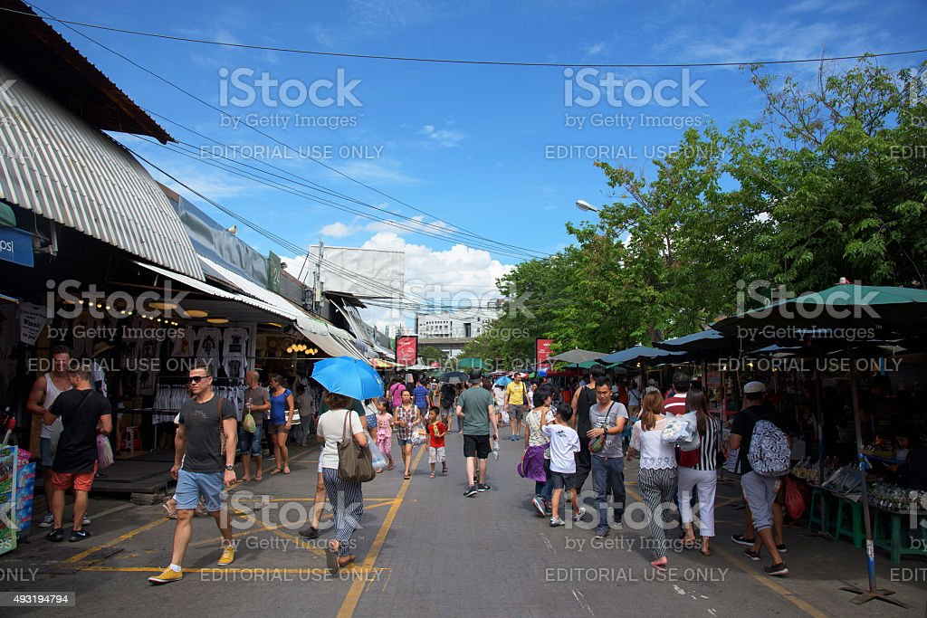 tourist at Chatuchak Market in Bangkok stock photo