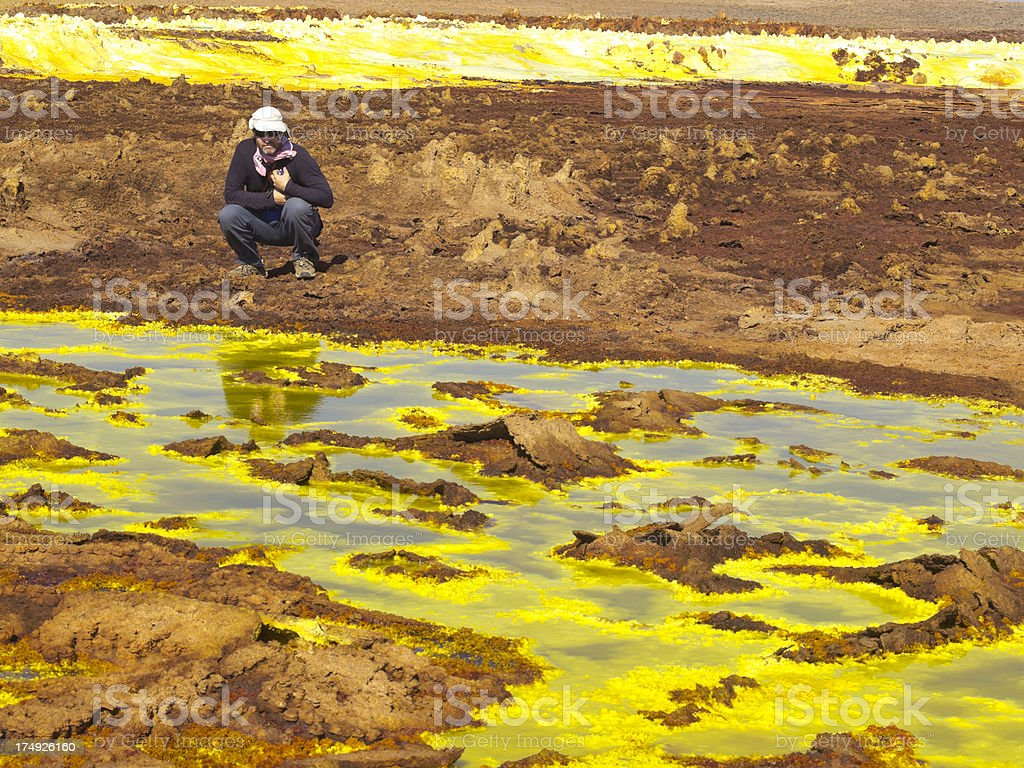 Tourist at Dallol stock photo