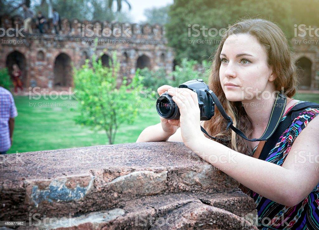 Tourist at Emperor Humayun Tomb Complex in Delhi stock photo