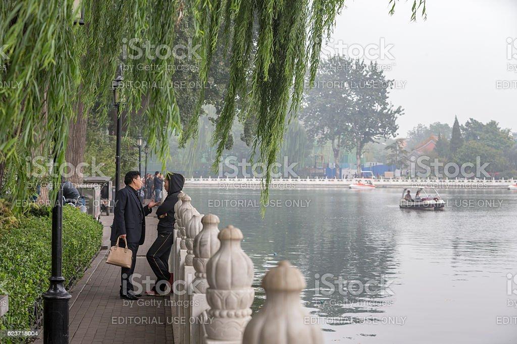 Tourist at Houhai Lake of  Beijing, China stock photo