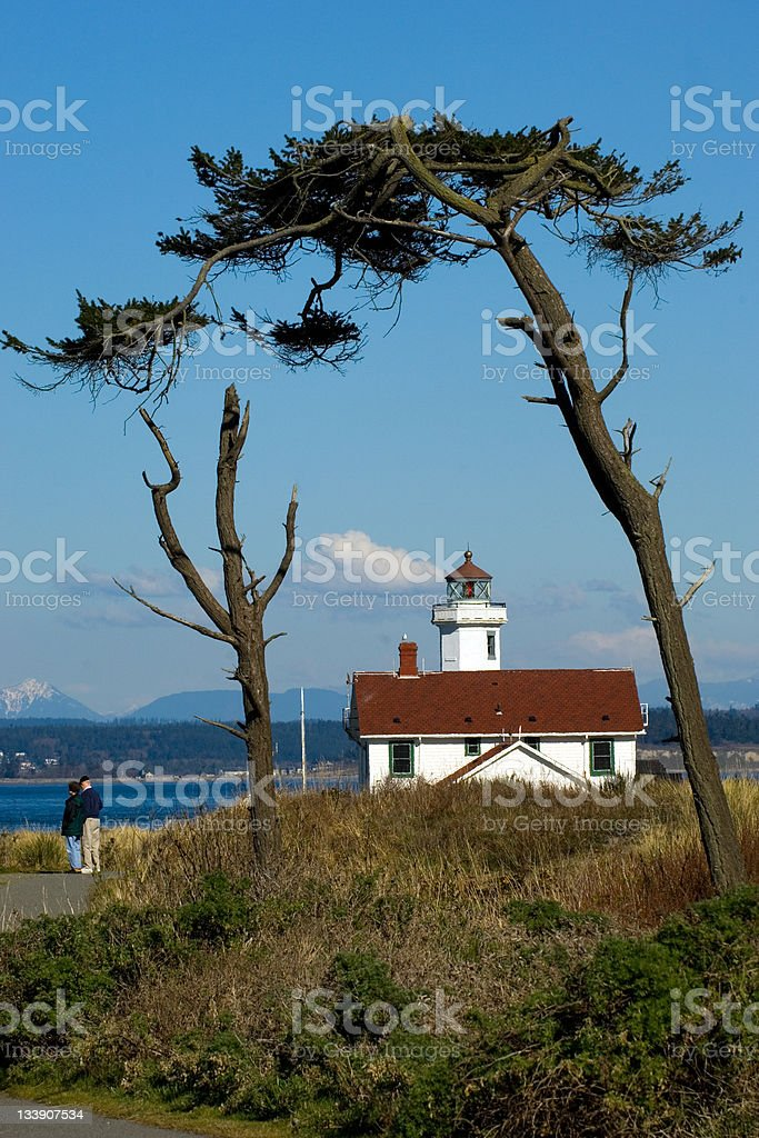 Tourist at lighthouse royalty-free stock photo