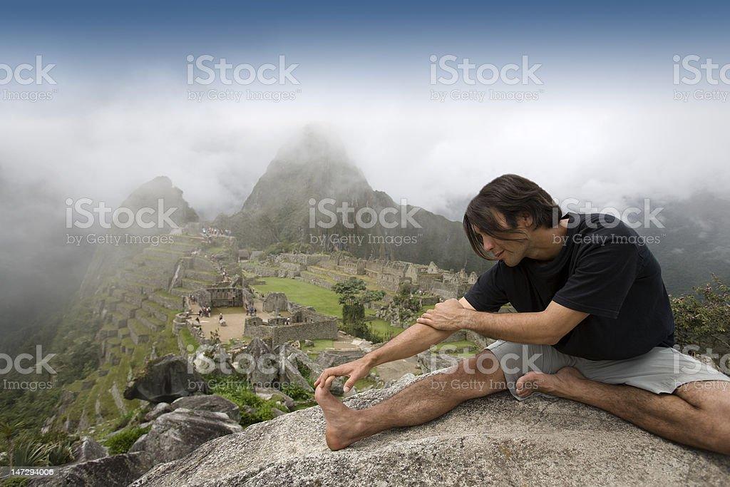 Tourist at Machu Picchu, Peru. royalty-free stock photo