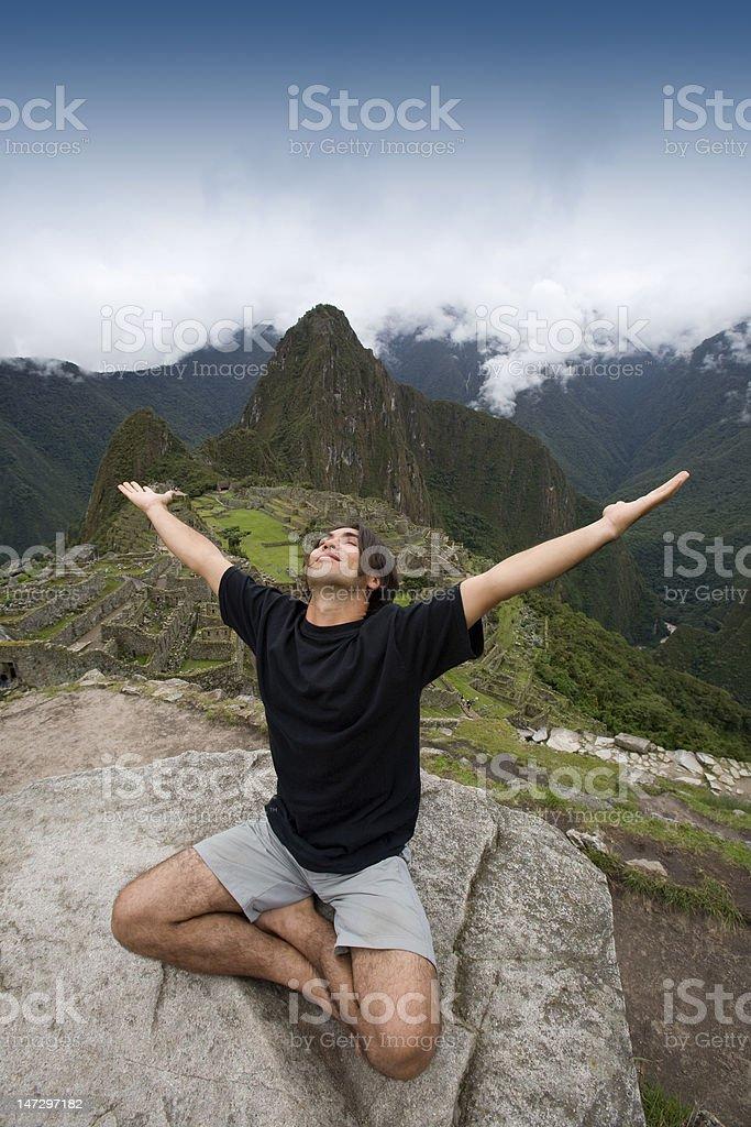 Tourist at Machu Picchu, Peru. stock photo