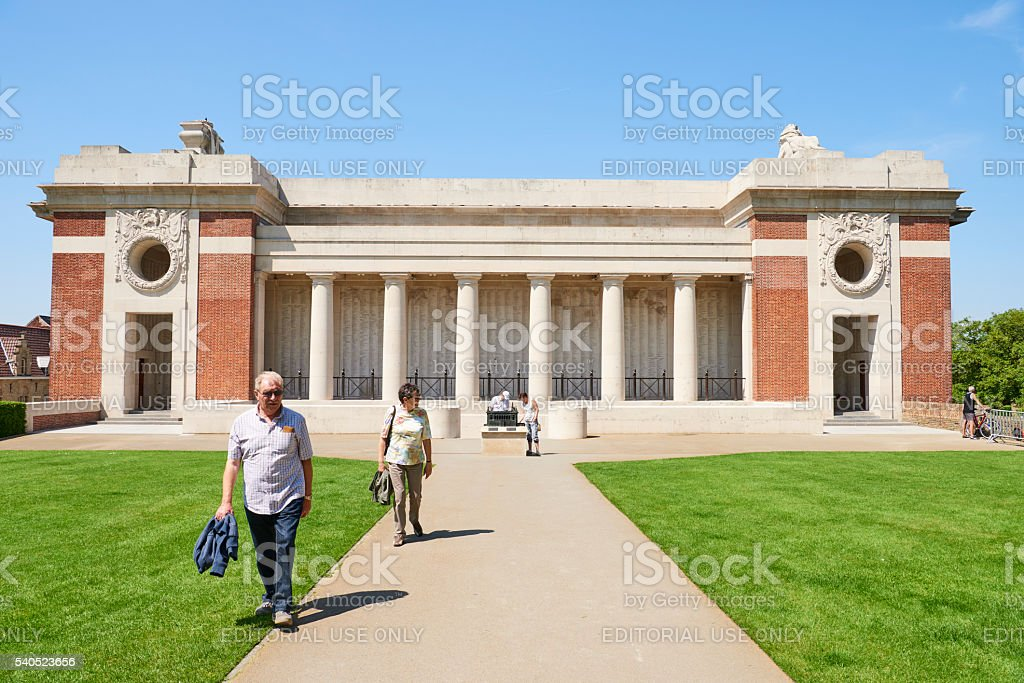Tourist at Menin Gate in Ypres stock photo