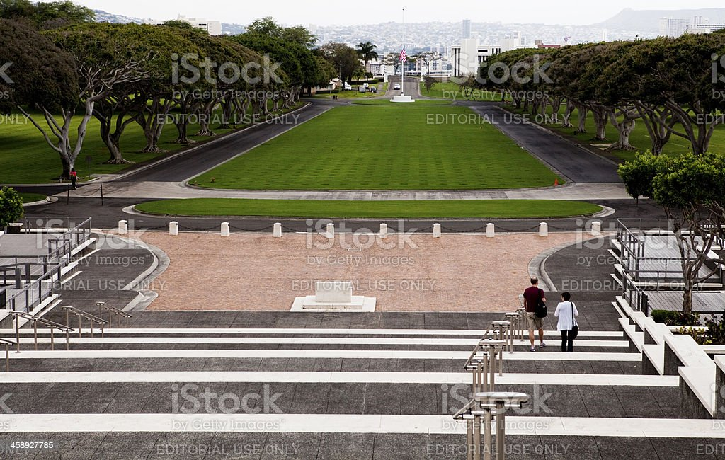 Tourist at National Cemetary of the Pacific Oahu Hawaii stock photo