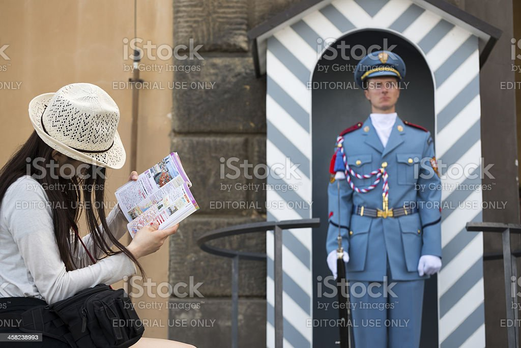 Tourist at Prague Castle royalty-free stock photo
