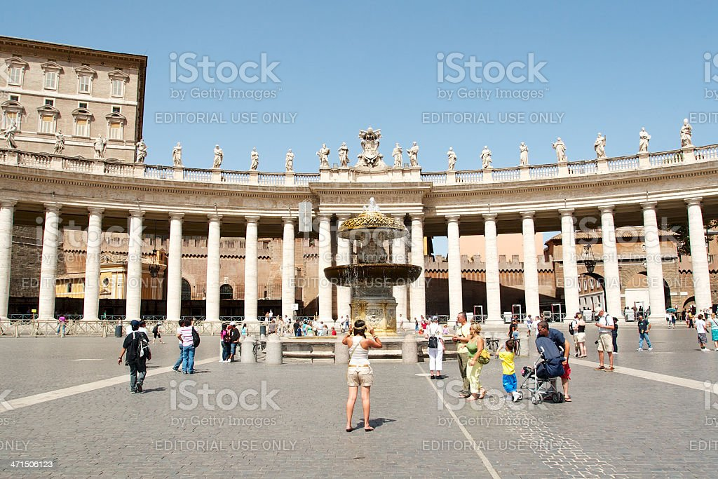 Tourist at St. Peter's Square stock photo