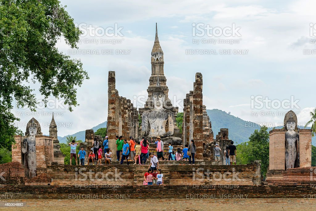 Tourist at Sukhothai historical park, the old town of Thailand stock photo