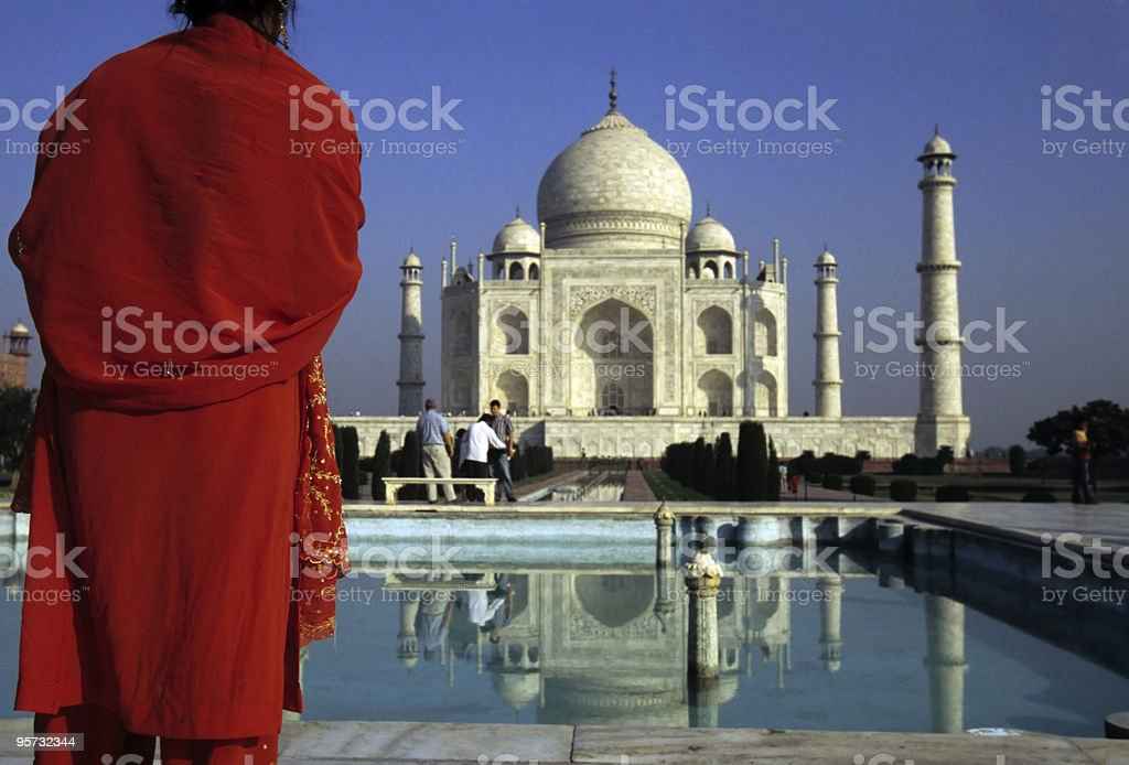 Tourist at Taj Mahal, Agra, India royalty-free stock photo