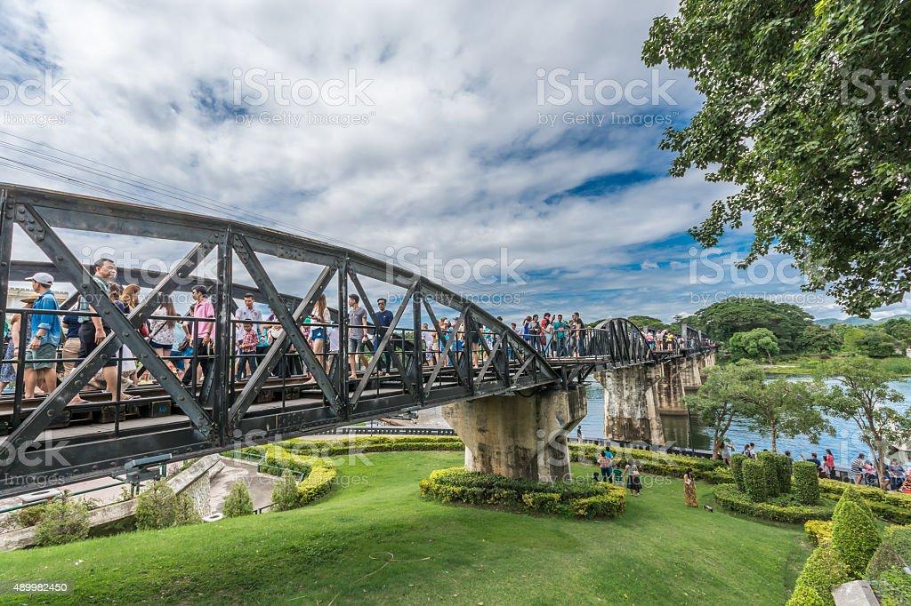 Tourist at the Bridge of River Kwai. stock photo