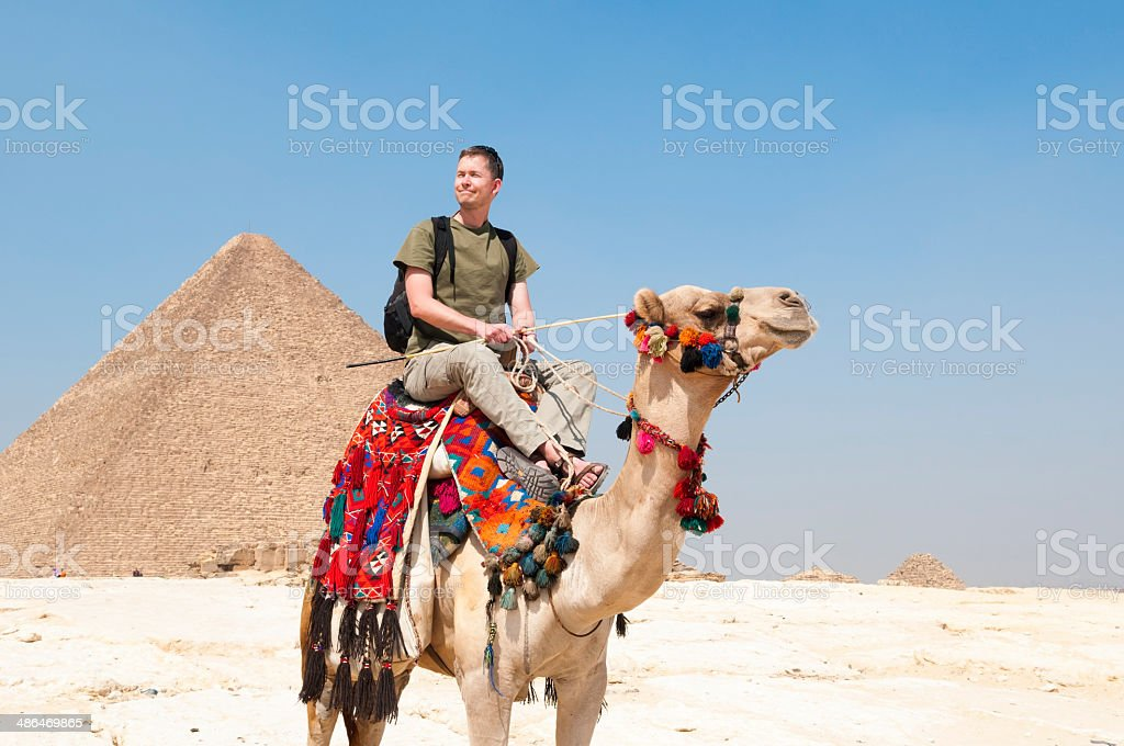 Tourist at the Giza Pyramids stock photo