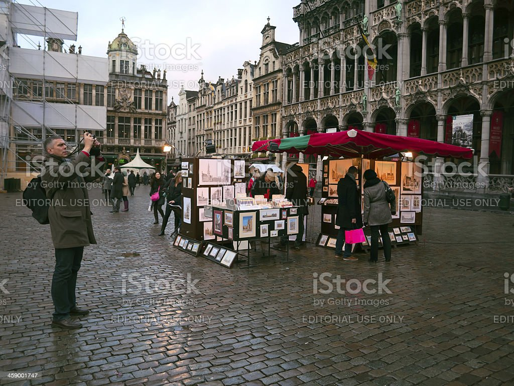tourist at The Grand Place square in Brussel, Belgium royalty-free stock photo