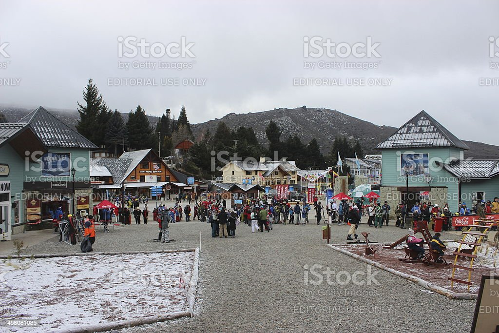Tourist at the Ski Resort on CERRO CATEDRAL stock photo