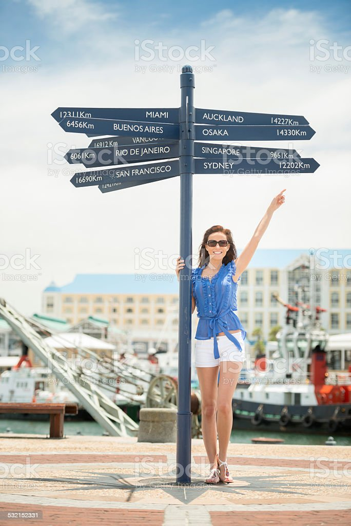 Tourist at the V&A Harbor in Cape Town, South Africa stock photo