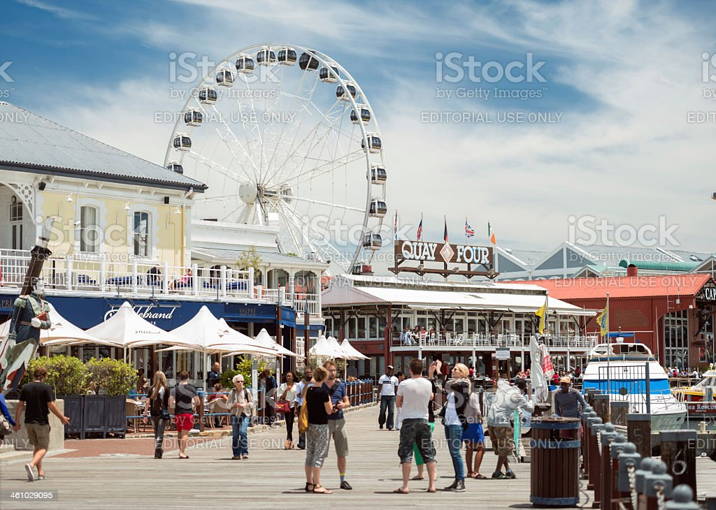 Tourist at the Victoria & Alfred Waterfront in Cape Town stock photo