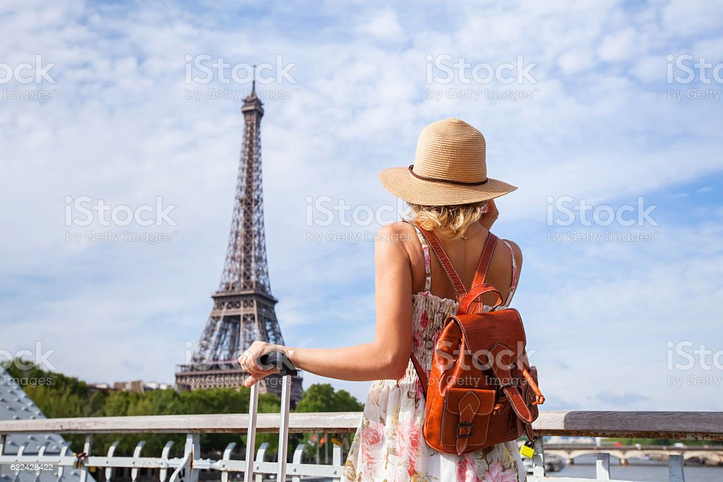 tourist backpacker in Paris, travel in Europe stock photo