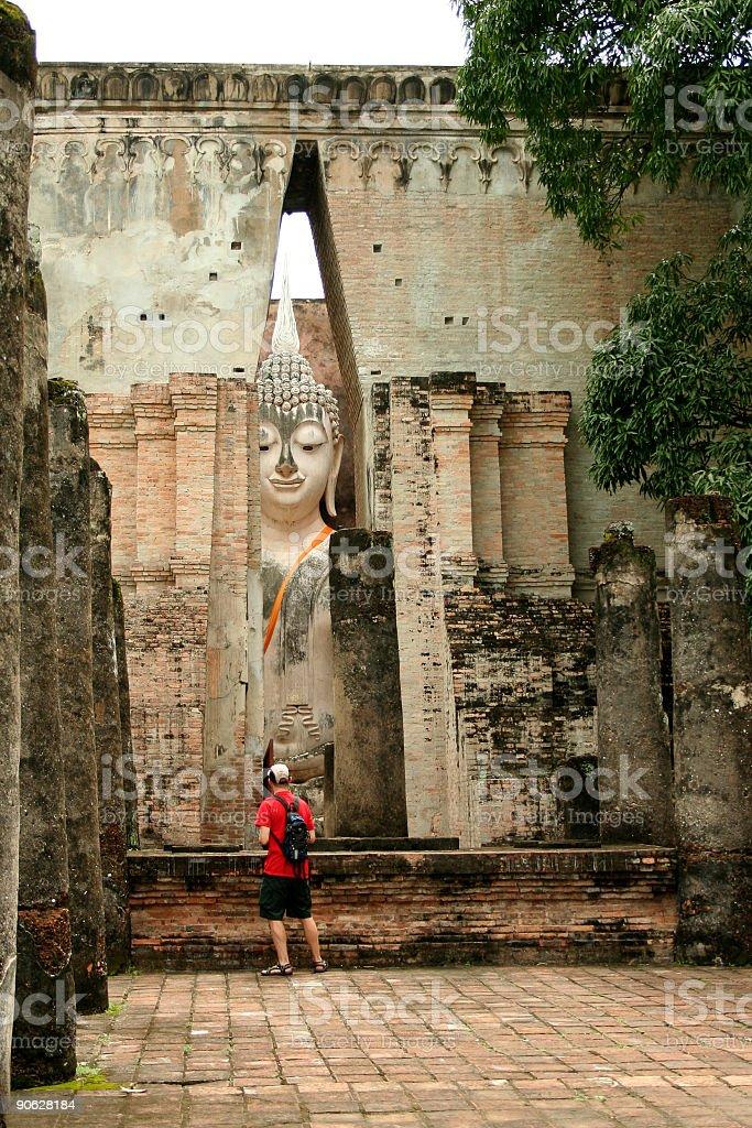 tourist before big buddha Sukhothai thailand royalty-free stock photo