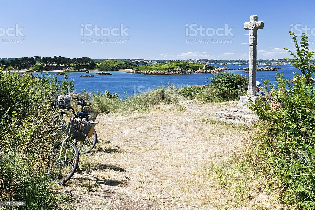 tourist bicycles in Brittany, France royalty-free stock photo